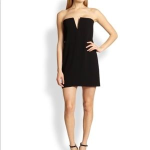 BCBG Black Nahara Silk V Slit Mini Dress Sz 4 AM